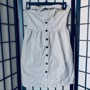 Cooperative striped strapless dress sz M